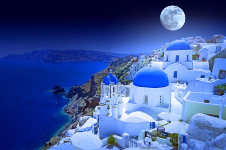 Full moon overSantorini island
