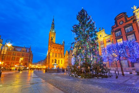 Old town of Gdanks with Christmas tree