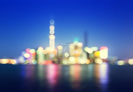 Bokeh of Shanghai skyline at night