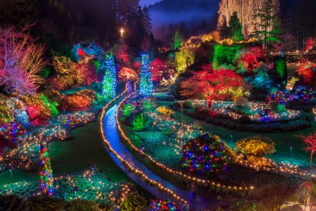 Butchart Gardens Colorful Christmas lights