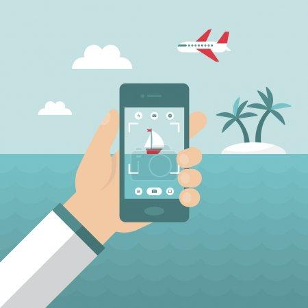 Smartphone snapshot during summer holiday vacation