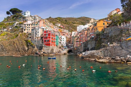 Riomaggiore town on the coast of Ligurian Sea