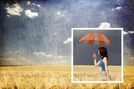 Collage photo. Girl with umbrella in storm at wheat field inside