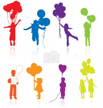 Colored reflecting silhouettes of playing, jumping children with