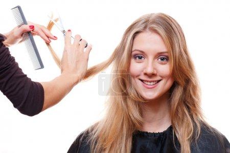 Smiley model in hairdressing salon