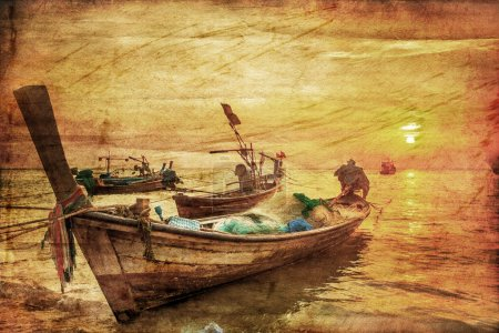 Boats in the tropical sea in retro style