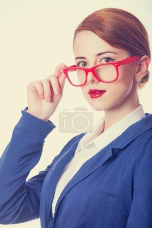 Businesswomen in red glasses