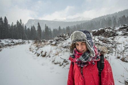 Woman on Snow mountain