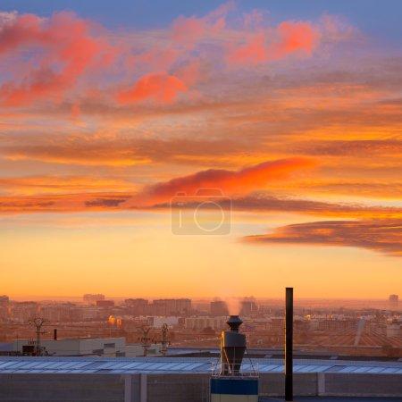 Chimney at sunrise in Paterna Valencia Spain
