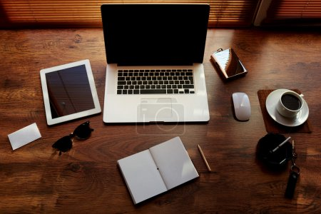 Business person desktop accessories and work tools