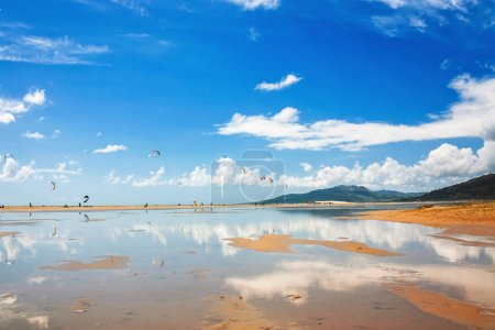 Tarifa beach in Spain with kitesurfers